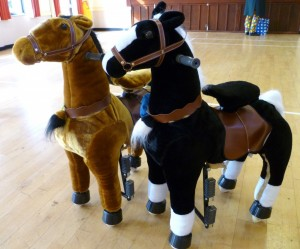 Brown and Black horse friends